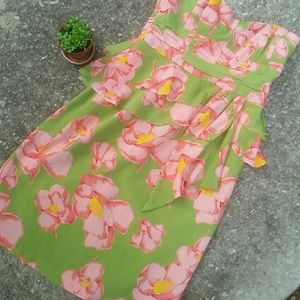 Nanette Lapore Strapless Green Hibiscus Dress 8